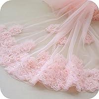 IRIZ 65*90cmロマンチック繊細ビーズ花刺繍レースファブリック ドレスエッジレーストリム (ピンク)