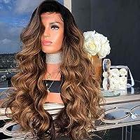 ウィッグ女性大きな波状長い巻き毛染め化学繊維かつら人間の髪のレースのかつら高品質人工毛かつらグラデーション黄色