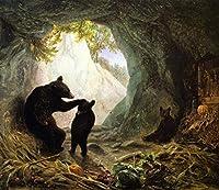 ¥5K-200k 手書き-キャンバスの油絵 - 美術大学の先生直筆 - Bear and Cubs William Holbrook Beard 絵画 洋画 複製画 ウォールアートデコレーション -サイズ03