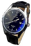メンズ 腕時計 ビジネス風 黒い文字盤 ブラウン レザーレベル