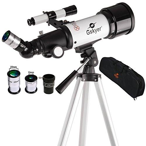Gskyer 天体望遠鏡 トラベルスコープ70 屈折式 経緯台 口径70mm 焦点距離400mm 初心者と子供向け