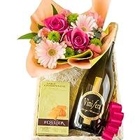 ワインとお花 スイーツのギフトセット フランス 白ワイン シャンパンサブレ クッキー ピンクのフラワーアレンジメント オーガニック ロワール ドメーヌ・アンリ・マリオネ トゥーレーヌ・ヴィニフェラ・ソーヴィニヨン・ブラン 750ml 生花 ガーベラ バラ バスケット入り