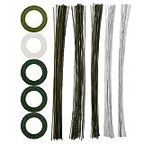CCINEE 10個 造花 セット フローラテープ 造花テープ(白い、浅い緑、深い緑) 地巻ワイヤー(深い緑、白い) #18 #20 #22 #24 #26
