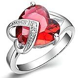 レディース ガールズ 18Kゴールドメッキ 婚約 結婚式リング指輪 ハート シェイプ ルビー サイズ17号(US サイズ8号相当) - Aooazジュエリー