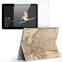 Surface go 専用スキンシール ガラスフィルム セット サーフェス go カバー ケース フィルム ステッカー アクセサリー 保護 写真・風景 地図 英語 世界 006093