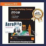 【Amazon限定】Orange Holiday ヨーロッパ ? プリペイドSIMカード ー 4G通信 20GB 120分 SMS 1000通 + SIMカードホルダー、SIM取り出しピン (20GB)