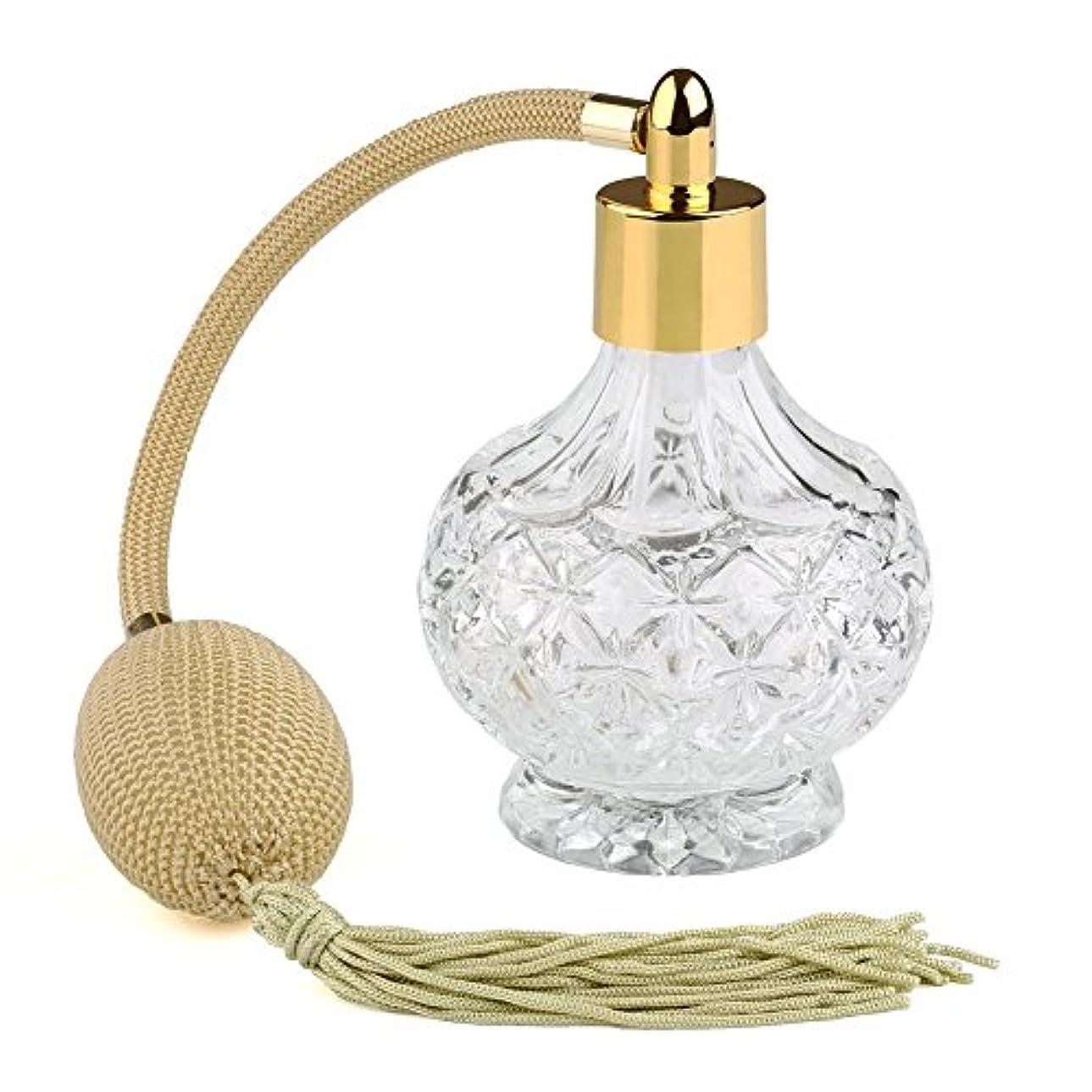 ノベルティ征服するひもRunFar 高品質 18MMガラスボトル香水瓶 ポンプ式 香水瓶 アトマイザー  クリア星柄ストリームライン デザイン カーキのフリンジ付きプラスチック・ニットバルブ  ゴールドスプレー 80ML ホーム飾り 装飾雑貨