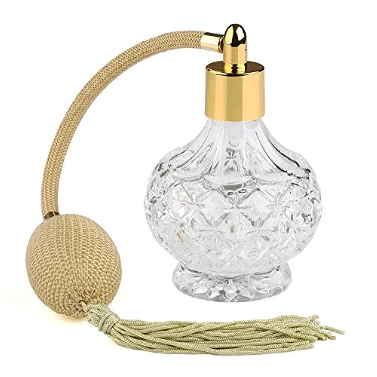抽象依存知事Easy Raku®高品質 18MMガラスボトル香水瓶 ポンプ式 香水瓶 アトマイザー カーキのフリンジ付きプラスチック?ニットバルブ ゴールドスプレー 80ML 装飾雑貨 (ゴールド)