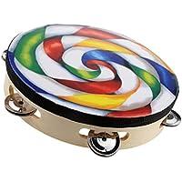 Dovewill 手作り 木制 ロリポップ タンバリン プラスチックボディ ドラム 楽器 教育 子供 玩具 アクセサリー 贈り物