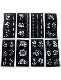 【10枚セット】 花柄のタトゥーシール ヘナタトゥー ヘナコーンのヘナタトゥー用のステンシル 接着剤付き 17.5 x 8.5cm