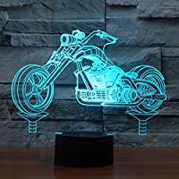 ノベルティオートバイ3d IllusionランプLEDナイトライト7色点滅&タッチスイッチUSB電源供給寝室デスクランプfor Kids Giftsホーム装飾