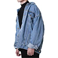 Hotmiss Men Oversize Denim Jacket Trucker Jean Coat Light Blue XL