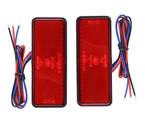 12V LED リフレクター テールランプ 角型 レッド 2...