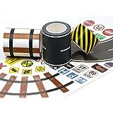 Manzawa Road Tape for Toy Car & Trains,3 Tape Rolls, Bonus 160TrafficSignDie CutStickers, 4RoadTightCurves and 4Train