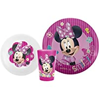 Zak! Designs Mealtime Set with Plate, Bowl and Tumbler featuring Minnie Mouse, Break-resistant and BPA-free plastic, 3 Piece Set by Zak Designs