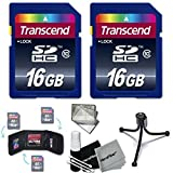 Transcend 32GB High Speed Class 10 SD MEMORY CARD (2 x 16GB Memory Cards) for Nikon D7200 D7100 D7000 D750 D5500 D5300 D5200 D..
