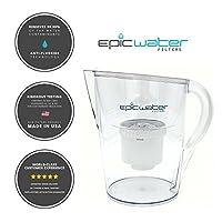 Epic Water Filters ピュアウォーターフィルターピッチャー 100%BPAフリー フッ化物、鉛、六価クロム、PFOS&PFOA、重金属、 微生物、農薬、化学物質、産業性汚染物質等を除去 3.5L (ホワイト)
