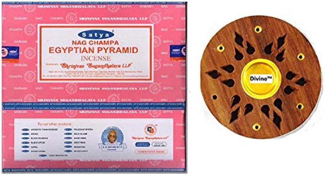 羊インキュバス邪魔するSatya Nag Champa Egyptian Pyramid Incense Sticks -12Packs x 15g (180g)