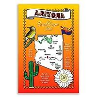 Arizona Stateマップポストカードのセット20identicalはがき。Post Cards with AZマップと状態シンボル。Made In USA。