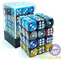 7 DICE WITH DIFFERENT NUMBER OF SIDES TUBE OF 7 ASSORTED ORANGE GEM DICE