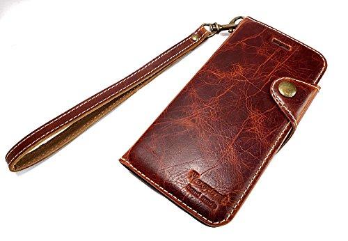 Yogurt Handmade 対応 iPhone7 PLUS ケース ハンドメイド 本革 ウォレット財布型 カードポケット 手帳型 カード収納 カバー (ダークブラウン)