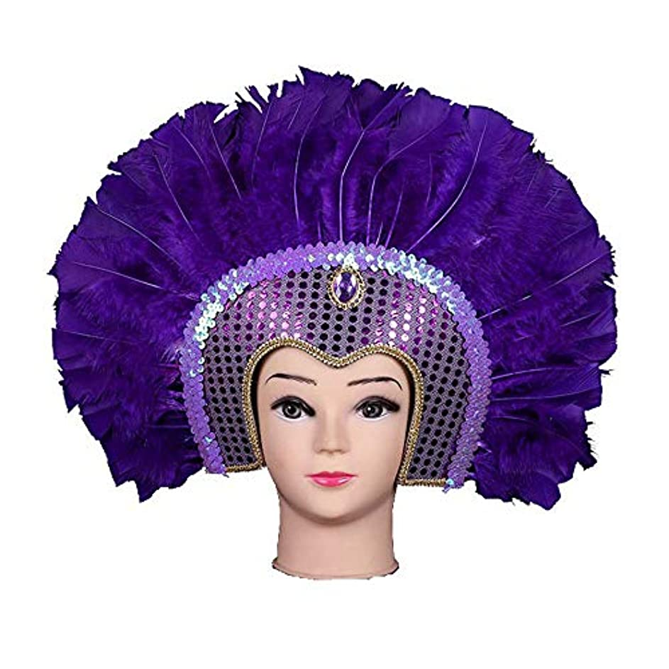 カウンターパート救急車フラスコフェザーマスク、トルコフェザーショーカラーフェザーインドの頭飾りをマスクハロウィンクリスマスマスカレードマスク,紫色