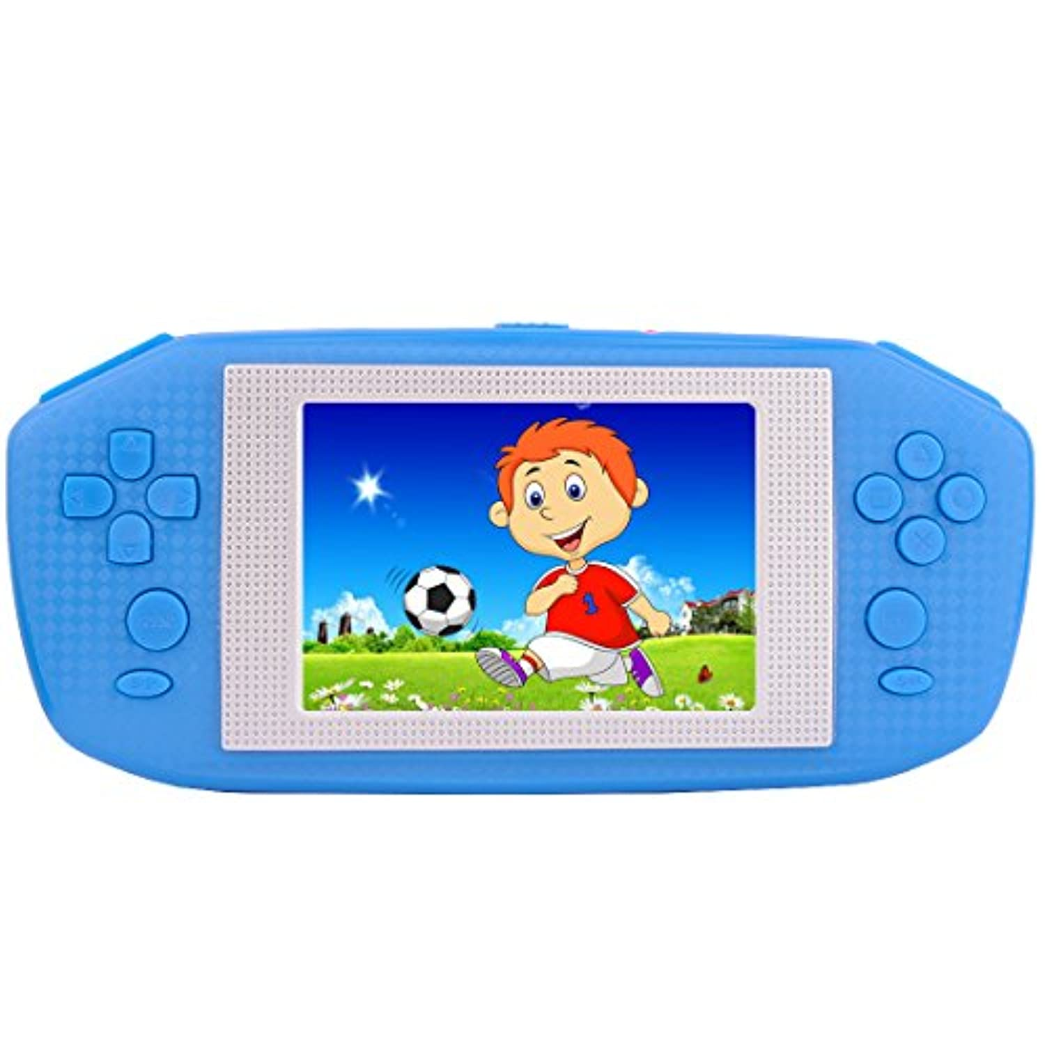 (Blue) - ZHISHAN Portable Handheld Game Console Gaming Player Birthday Gift for Kids Built in 416 Classic Retro Games with 8.9cm LCD Big screen (Blue)