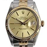 ROLEX(ロレックス) デイトジャスト 腕時計 メンズ ステンレス 18金イエローゴールド 自動巻き シルバー ゴールド文字盤 16013 [オーバーホール済み](中古)[並行輸入]