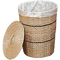 WBBSN 大型バケットストロー ストレージバスケット 汚れた家庭用おもちゃ収納バスケット 洗濯バケツ付き 蓋付き