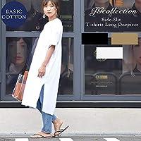 [ジェージーコレクション] レディース ワンピース カットソー ロング ワンピース 半袖 ゆったり 体型カバー スリット ワンサイズ White