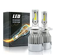 All in One 100W 10000LM LED Headlight DRL Kit/High/Low Beam/Fog Lamp Kit Light Bulbs White 9005 9006 9007 H4 H10 H11 H13 (H4, White) [並行輸入品]