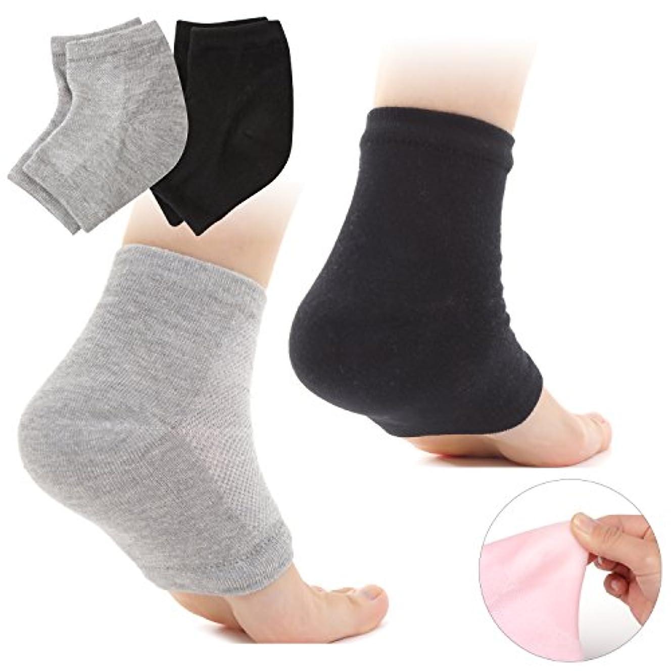 寝室選ぶクールMuiles かかと 靴下 ソックス 角質取り 保湿 ひび割れ かかとケア レディース メンズ 男女兼用【1足~3足】(2足セット グレー、ブラック)