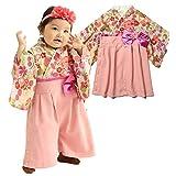 Sweet Mommy 袴 ロンパース ベビー 着物 カバーオール 日本製和柄ちりめん ベージュ 80