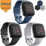 AK 3 Pack Soft TPU Bands Compatible with Fitbit Versa/Versa 2/Versa SE, Elastomer Wristband Sports Waterproof Strap for Fitbit Versa Lite Smart Watch Women Men