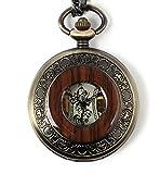 【クロノシア】懐中時計 アンティーク 手巻き 機械式 木目調 ふた付き