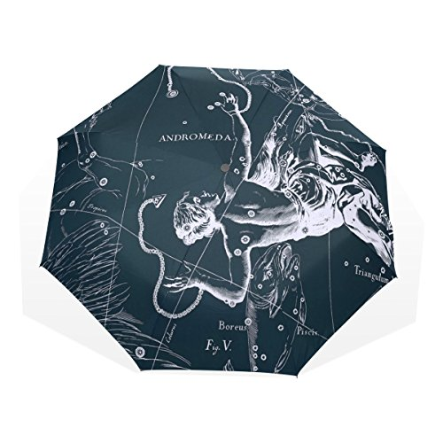 HMWR(ヒマワリ) おしゃれ 神話 星座柄 宇宙柄 星空 アンドロメダ座 雑貨 レディース メンズ 子供用 三つ折り傘 折りたたみ傘 頑丈な8本骨 耐強風 軽量 撥水性 大きい 手動開閉 雨傘 日傘 晴雨兼用 収納ケース付 携帯用 かさ