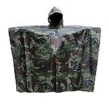 迷彩柄 レインウエア レインコート ポンチョ タープ 簡易テント シート キャンプ サバゲー アウトドア 多機能 完全防水 同柄収納袋付き フリーサイズ 男女兼用