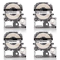 キングジム 白地 SS9KW 9mm幅テープ 4本セット 互換 テプラ テープ PRO機種対応 永久保証【ABColor】(9mm 白地*4本)