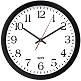 Bernhard Products Black Wall Clock, Silent Non Ticking - 16 Inch Extra Large Quality Quartz Battery Operated Round Easy to Read Home/Office/Business/Kitchen/Classroom/School Clock (16 Inch)