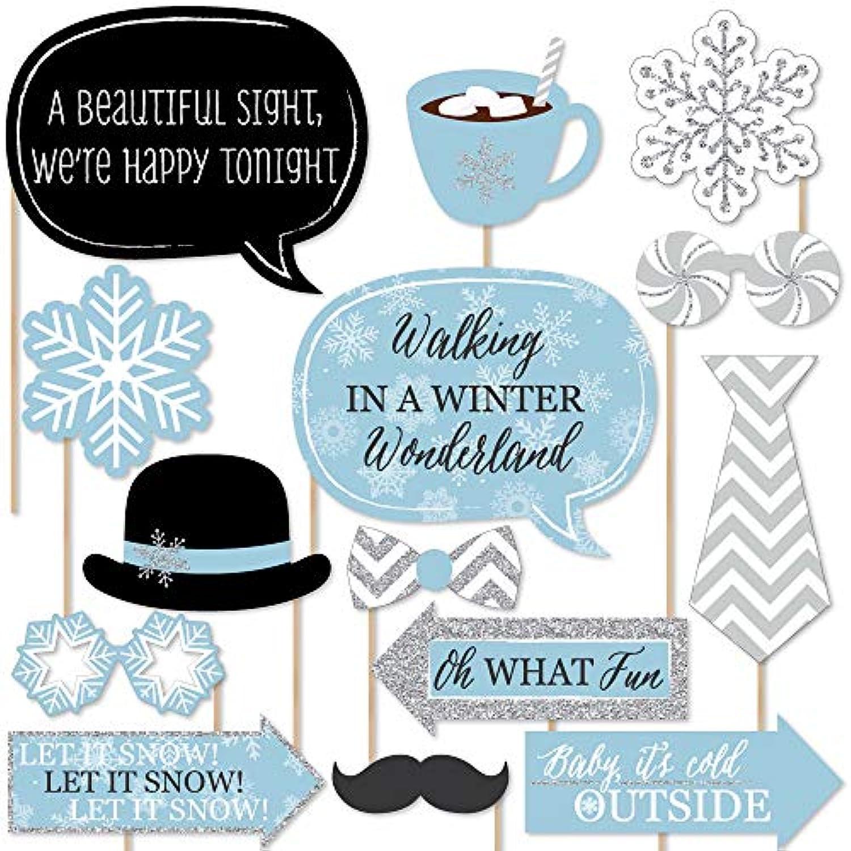 Winter Wonderland – Snowflake Holidayパーティー&冬ウェディング写真ブース小道具キット – 20カウント
