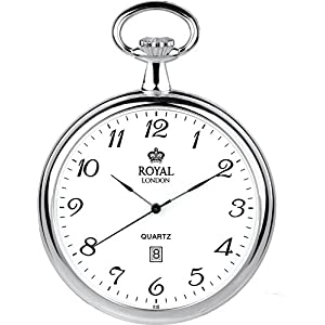 [ロイヤルロンドン]ROYAL LONDON 懐中時計 ポケットウォッチ オープンフェイス クォーツ デイト 90015-01 【正規輸入品】