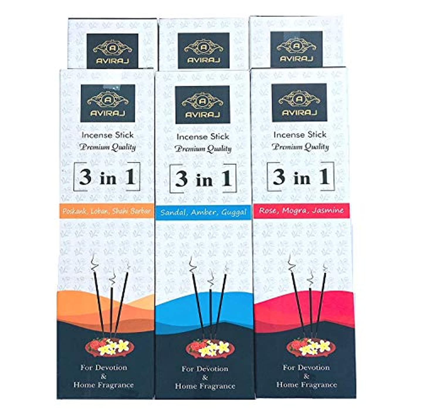 駐地嵐の直感Aviraj Premium Incense Sticks Combo - Monthly Pack -9 Fragrances Agarbatti