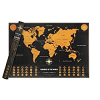 """Scratch Off Map of theワールドマップ旅行ポスターwithポータブルチューブトラックYour TravelsとすべてUS States Outlined (19.6"""" X 28.4"""")"""