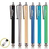 aibow タッチペン スマートフォン タブレット スタイラスペン iPad iPhone Android 交換式 6本セット 8mm (シルバー、アクアブルー、グリーン、ブルー、シャンパンゴールド、ブラック)