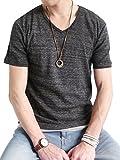 (オークランド) Oakland 杢 フライス カットソー Vネック Tシャツ 半袖 ストレッチ コットン メンズ ブラック Lサイズ