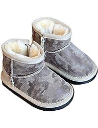 (チェリーレッド)CherryRed 子供靴 冬用 スノーブーツ 牛革 保温 防滑 裏起毛 ショートブーツ 男女兼用 迷彩 3色