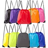 Lontenrea Drawstring Backpack Polyester Tote Bag Kids Adults Sport Storage Bag for Hiking Traveling Gym Folding Shouder Bag