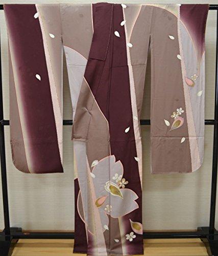 新品! 豪華 ナカノヒロミチ 桜柄 金糸刺繍 仕立上り 正絹振袖 Lサイズ 紫 ベージュ きれいな地色  f-022