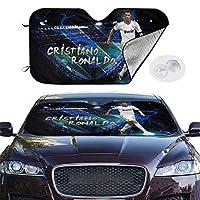 サンシェード サンバイザー 車用 フロントガラス 遮光 UVカット CR7 サッカー選手 有名な カーフロントカバー 四季用 吸盤取付 汎用 収納便利
