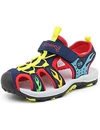 SRECNO 子供 男の子 ビーチサンダル つま先保護 夏靴 アウトドア 柔らかい 滑り止め 通学 キッズサンダル